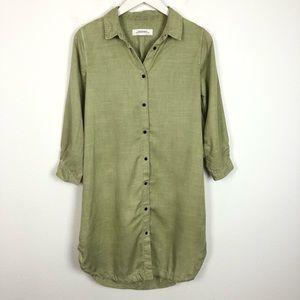 Zara green button up shirt mini dress